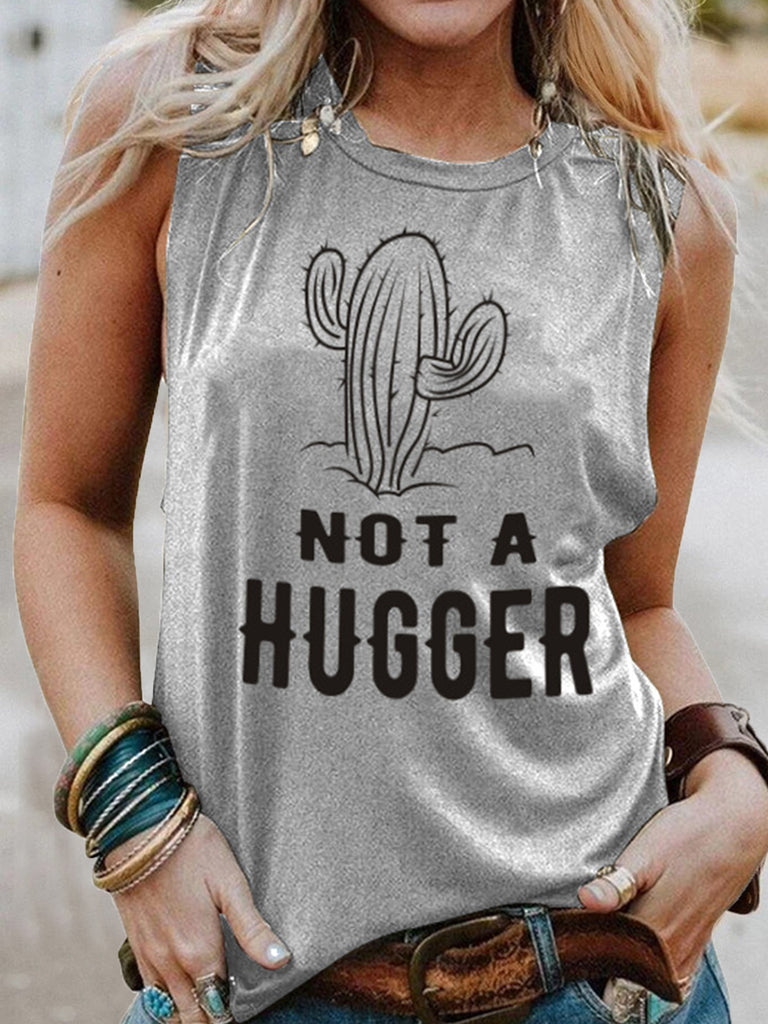 Women Cactus Letter Printed Sleeveless Vests