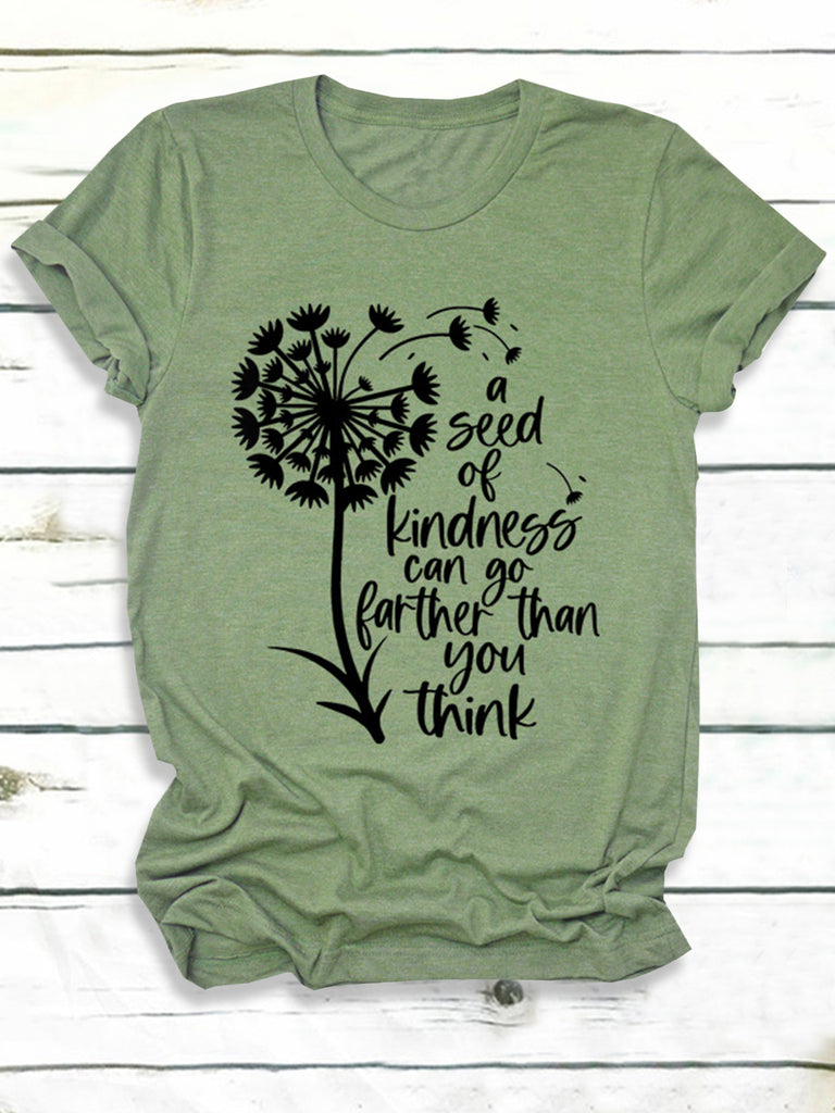 Dandelion Letter Print Round Neck Casual Short Sleeve T-Shirts for Women