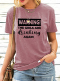 Letter Printed Casual Short-Sleeved Round Neck T-shirts