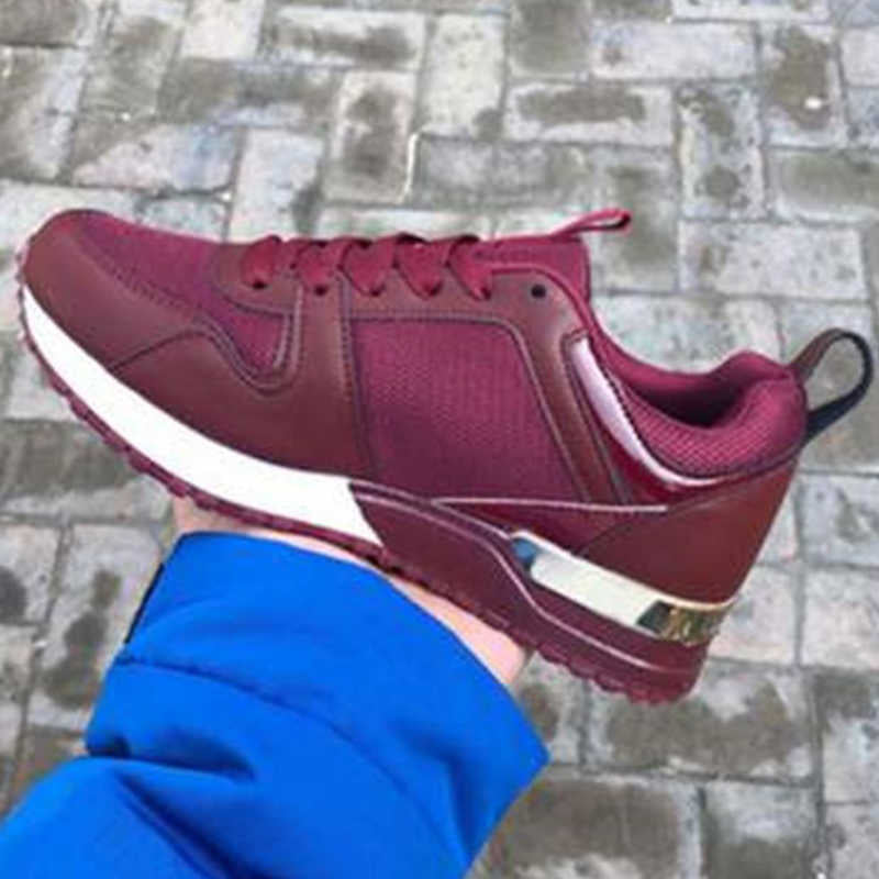 Women Panel Lace Up Casual Athletic Sneakers