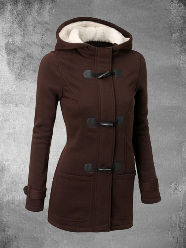 Zipper Hooded Horn Leather Button Coats For Women