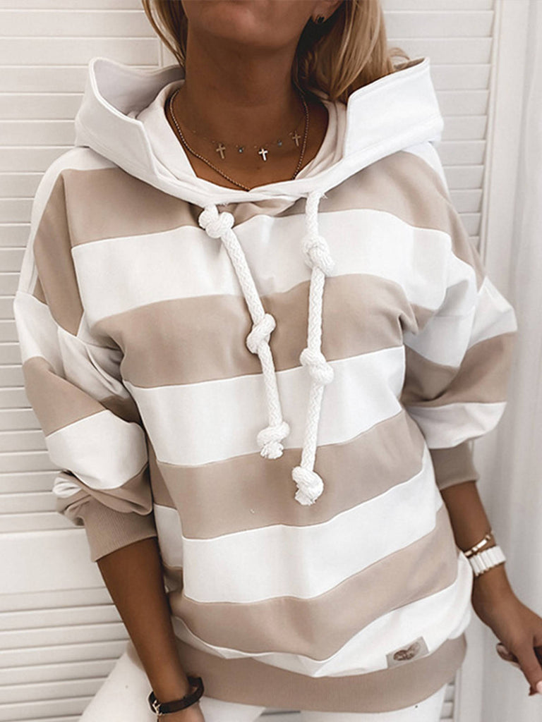 Women Stripes Hoodie Polyester Long Sleeve T-Shirts