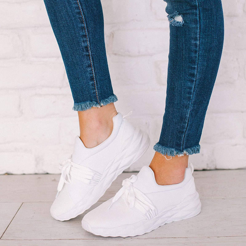 Women Athletic Flyknit Fabric Lace Up Comfy Sole Platform Sneakers