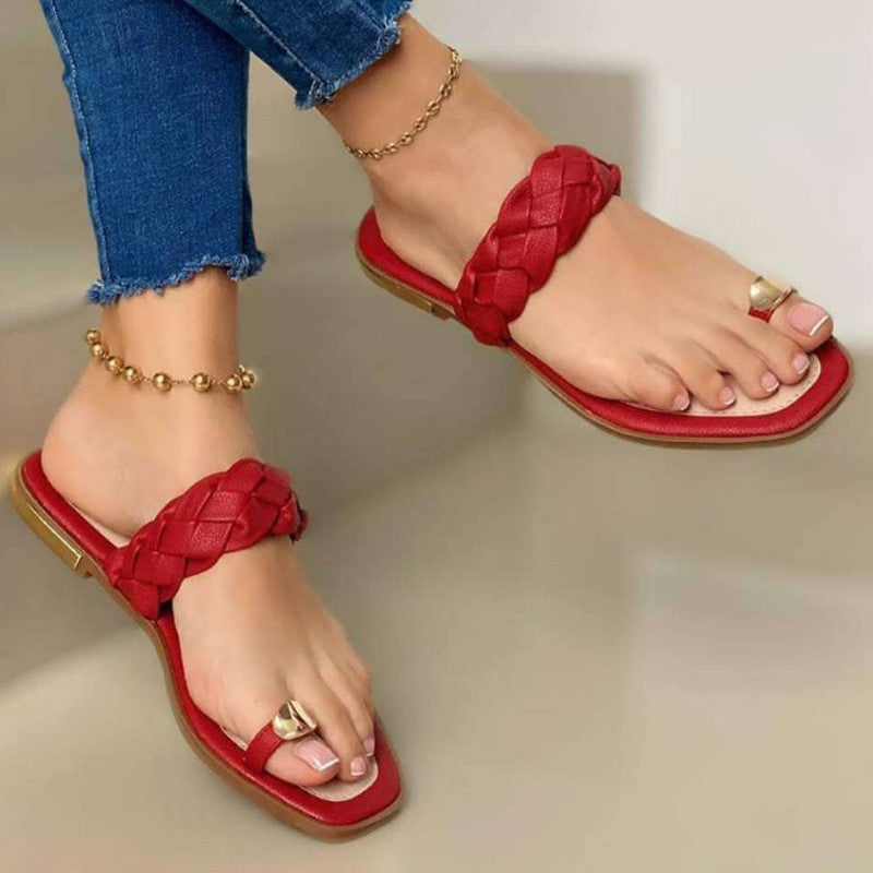 Women Casual Simple Outdoor Pu Toe Loop Woven Flat Sandals