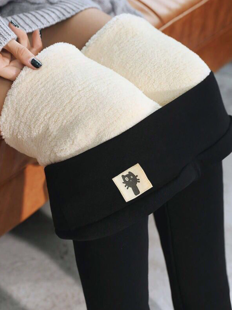 Women Solid Casual Plus Cashmere Warm Pants