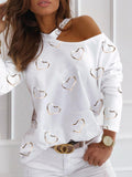 Off Shoulder Paneled Women Printed Long Sleeve Casual T-shirt