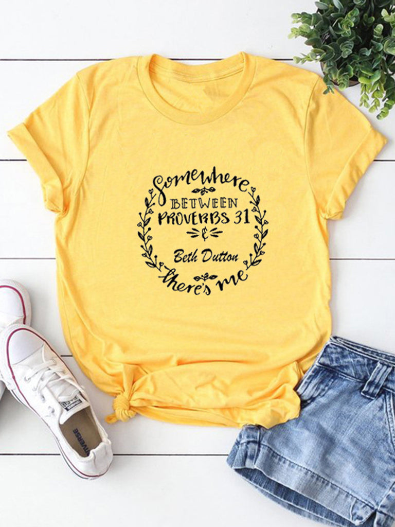 Somewhere Between Letter Printed Casual Short-Sleeved T-shirts