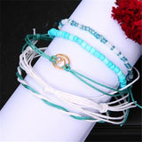 5pc/set Multi Layered Turquoise Chains Beach Anklet Foot Bracelet Set Ankle Jewelry For Women