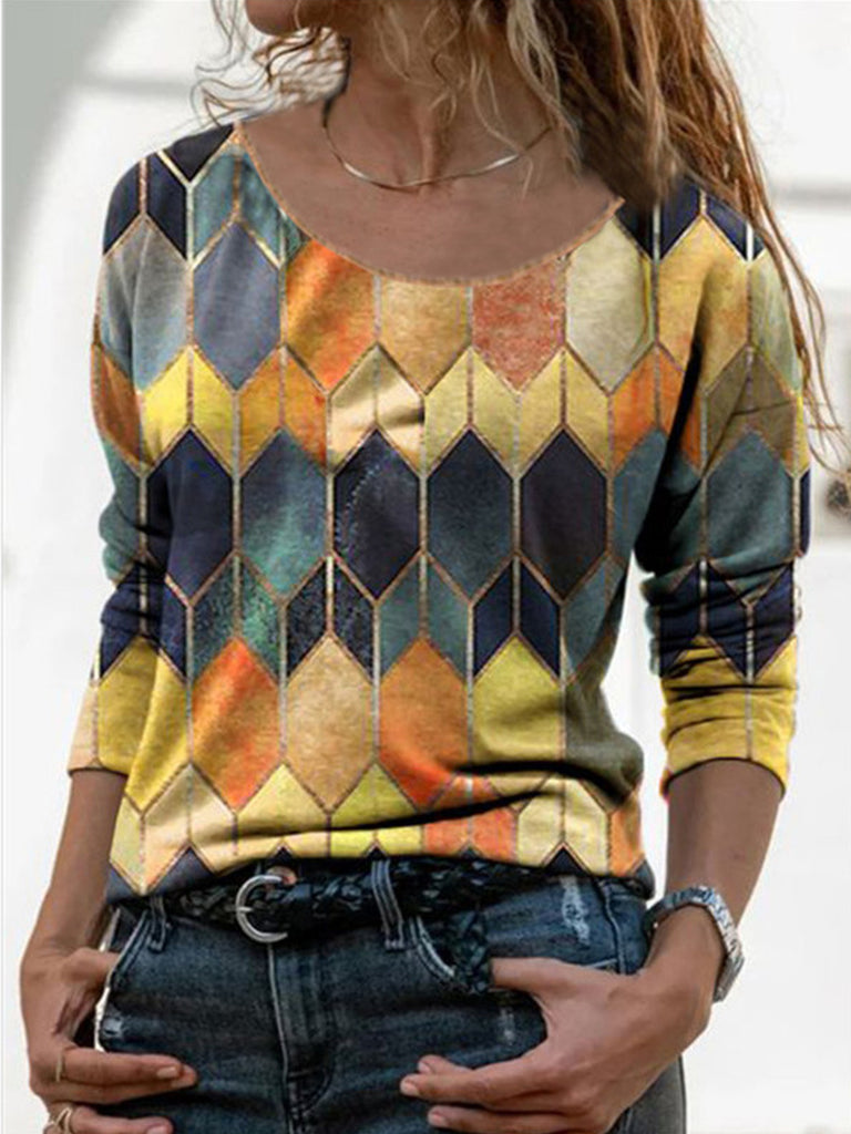 Crew Neck Paneled Women Geometric Long Sleeve Street T-shirt