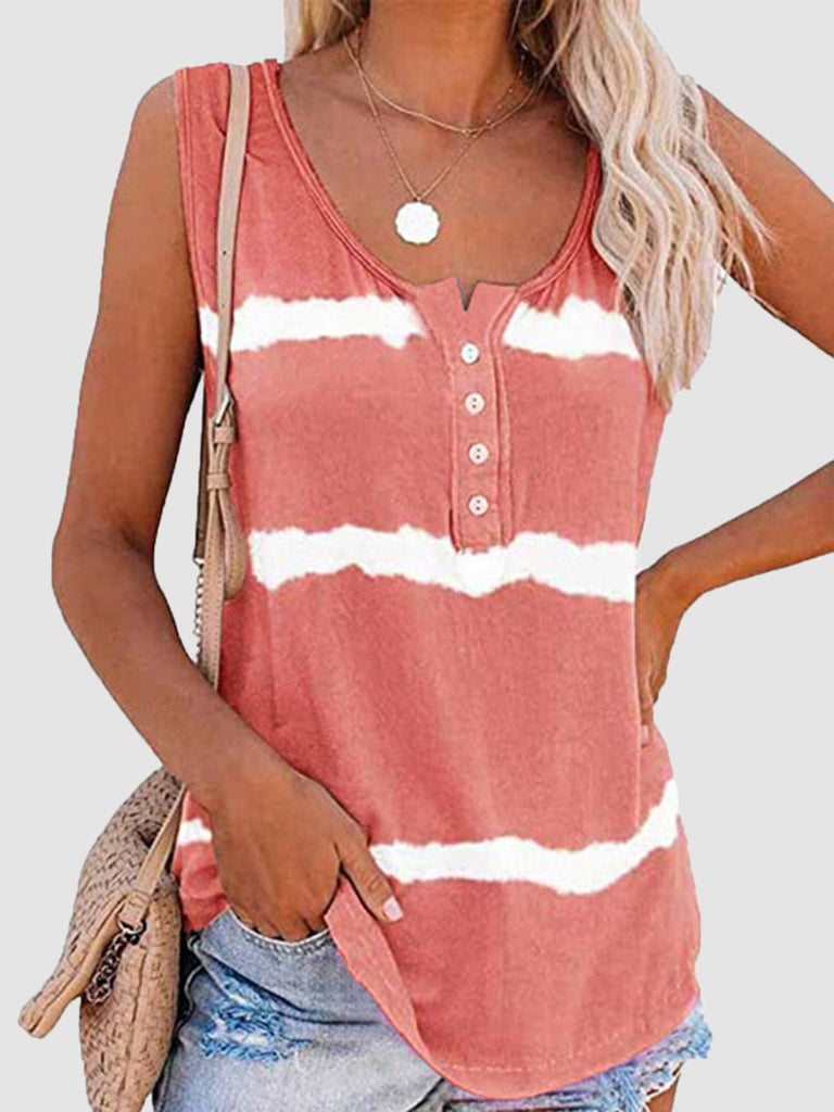 Women Tie-Dye Cotton Sleeveless Crew Neck T-Shirts