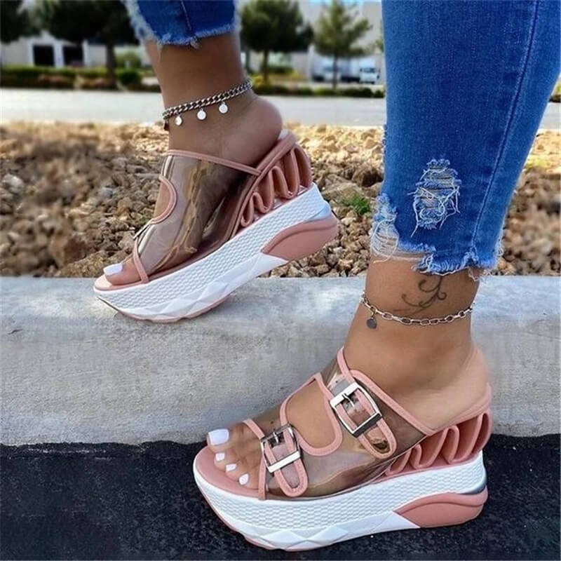 Women Transparent Buckle Strap Decoration Open Toe Slip On Wedge Heel Slippers