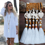Women Wooden Beads Tassel Turquoise Long Necklace