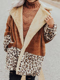 Women Leopard Print Fleece Shawl Collar Paneled Long Sleeve Coats
