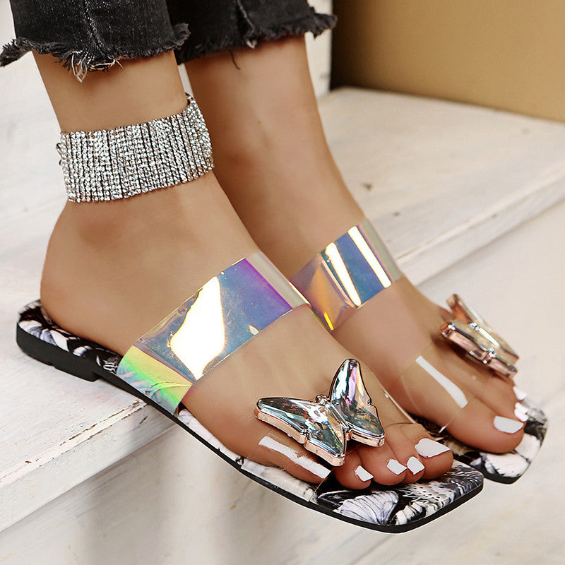 Women Casual Fashion Pu Butterfly Decoration Print Flat Sandals
