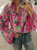 Floral Printed Stand Collar Long Sleeve Beach Blouses Hot Sale