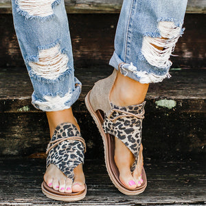 Women Fashion Leopard Flat Heel Slip On Sandals