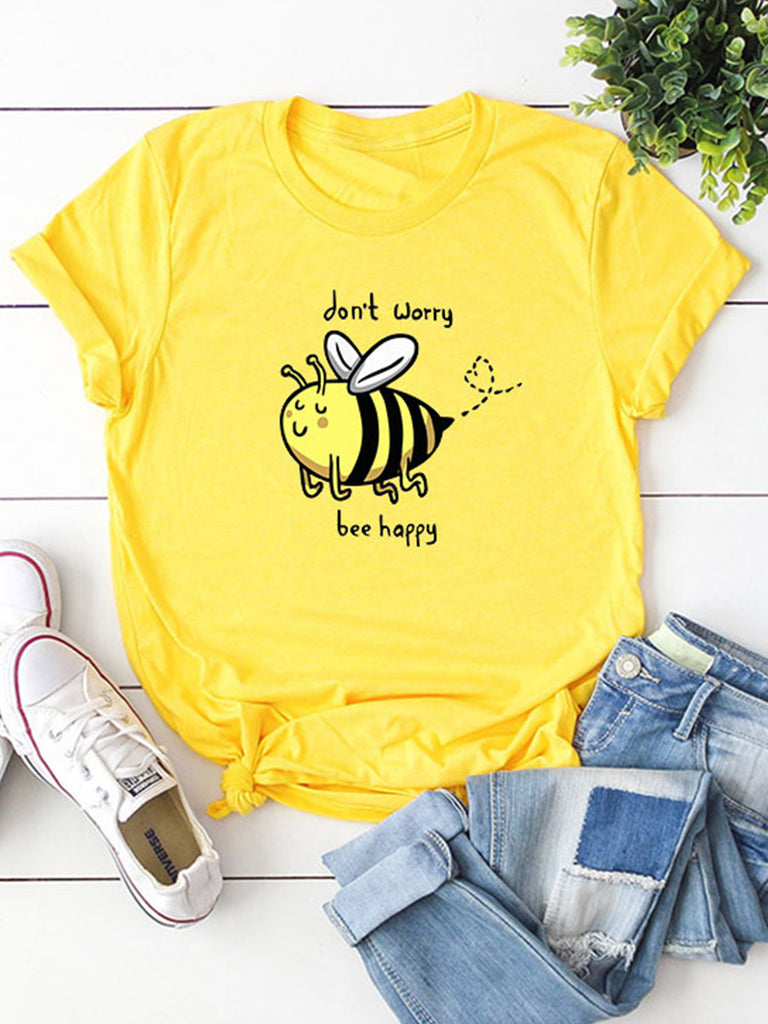 Cute Bee Cartoon Print Short-Sleeved Crew Neck Casual T-shirts