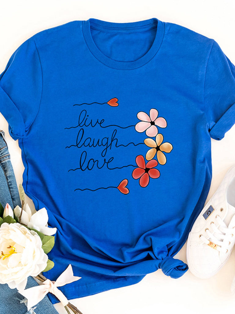 Women Letter Floral Printed Short Sleeve Crew Neck Cotton T-shirts