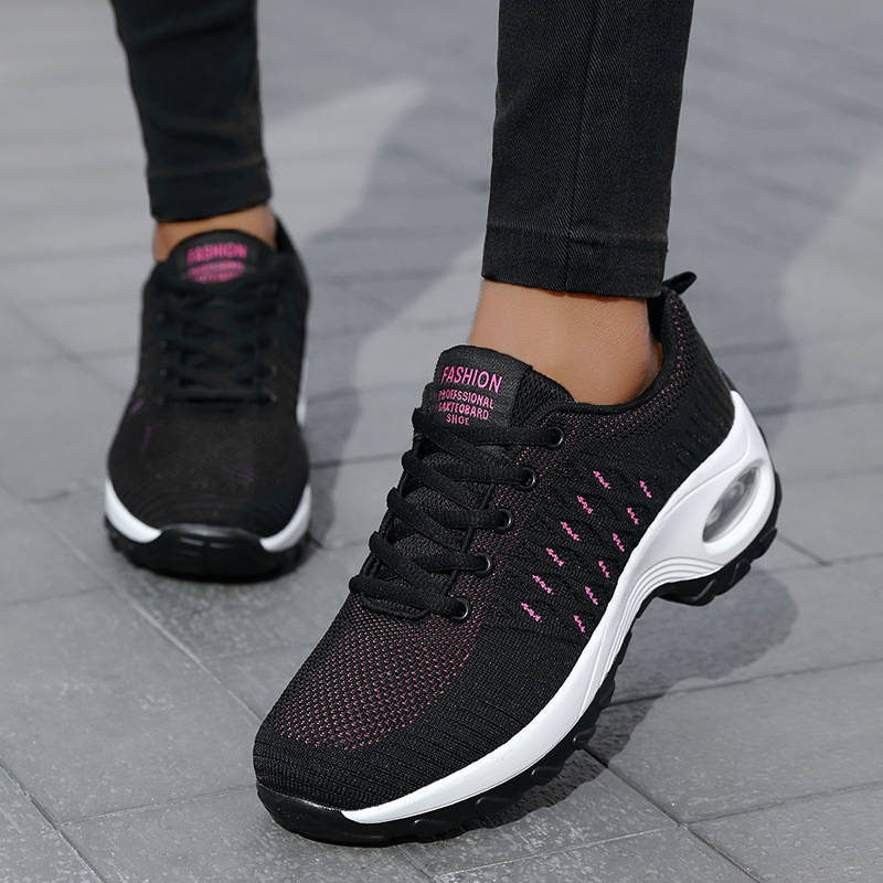 Women Athletic Flyknit Fabric Hit Colors Elastic Air Cushion Lace Up Platform Sneakers