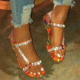 Women Large Size Rhinestone Magic Tape Sandals
