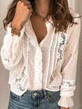 Women Loose Cutout Solid Color Long-Sleeved Blouses