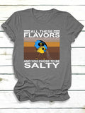 Women All thes Flavors Letter Print Short Sleeve Crew Neck T-Shirts