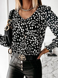 Polka Dots Print Round Neck Long Sleeve Blouses