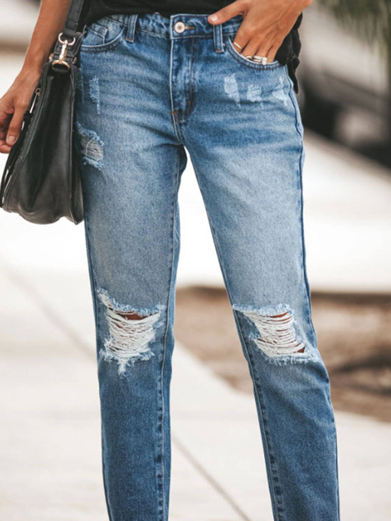 Women Fringed Ripped Jeans Washed Mid Waisted Jeans Pocket Jeans For Women
