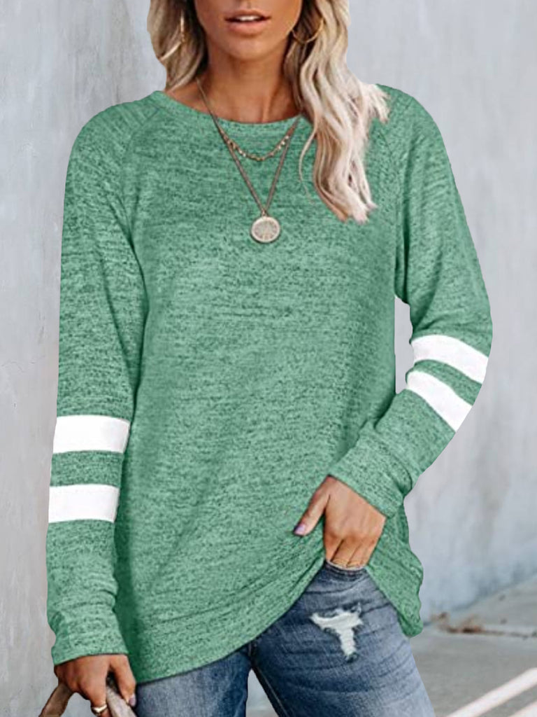 Women Solid Paneled Long sleeve Crew neck Casual T-shirt