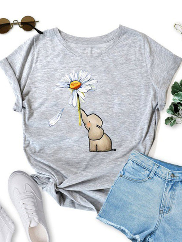 Elephant Print Women Crew Neck Short-Sleeved Casual T-shirts
