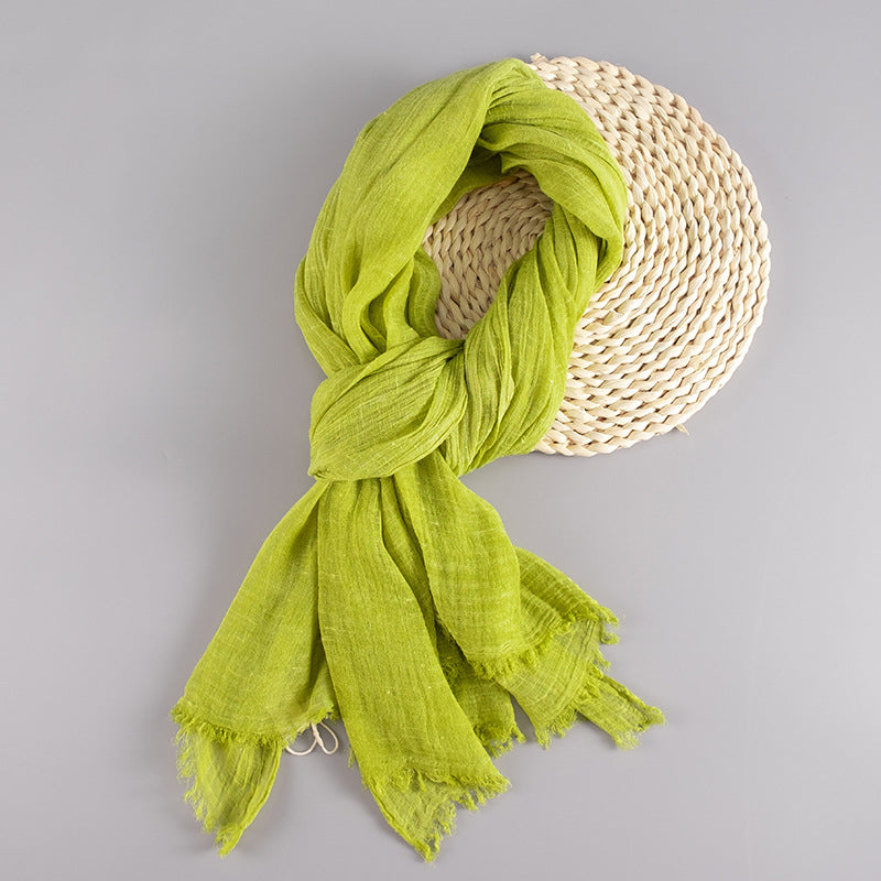 Women Solid Color Linen Scarf