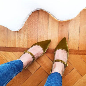 Women's Fashion Simple Pointed Toe Mary Jane Flats