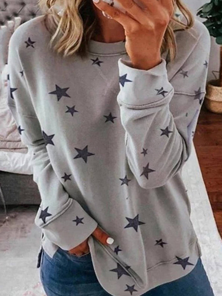 Women Star Print Cotton Casual Crew Neck Long Sleeve T-Shirts