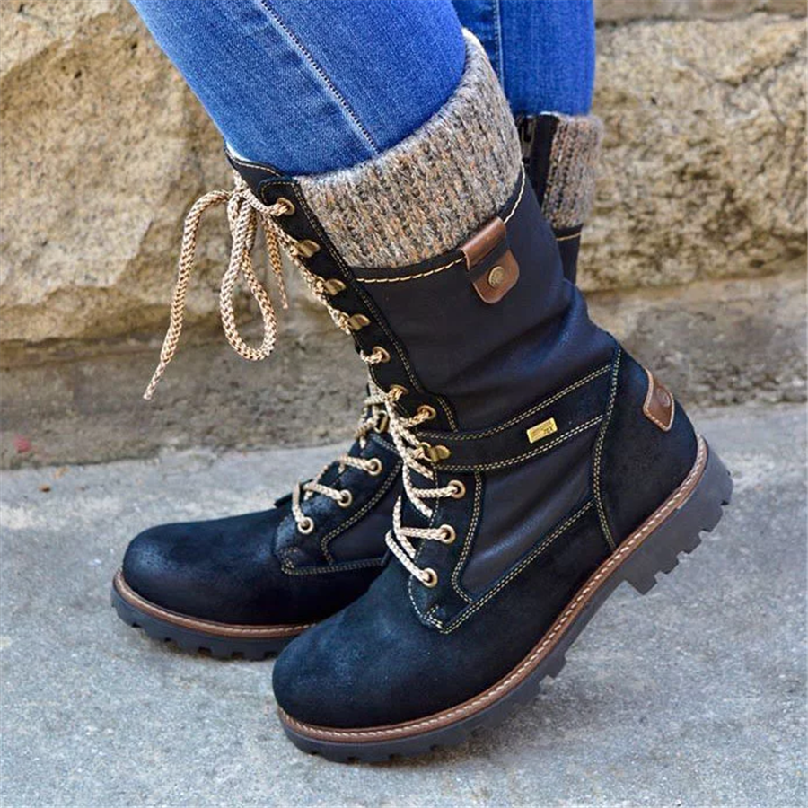 Women's Round Head Casual Lace Martin Boots