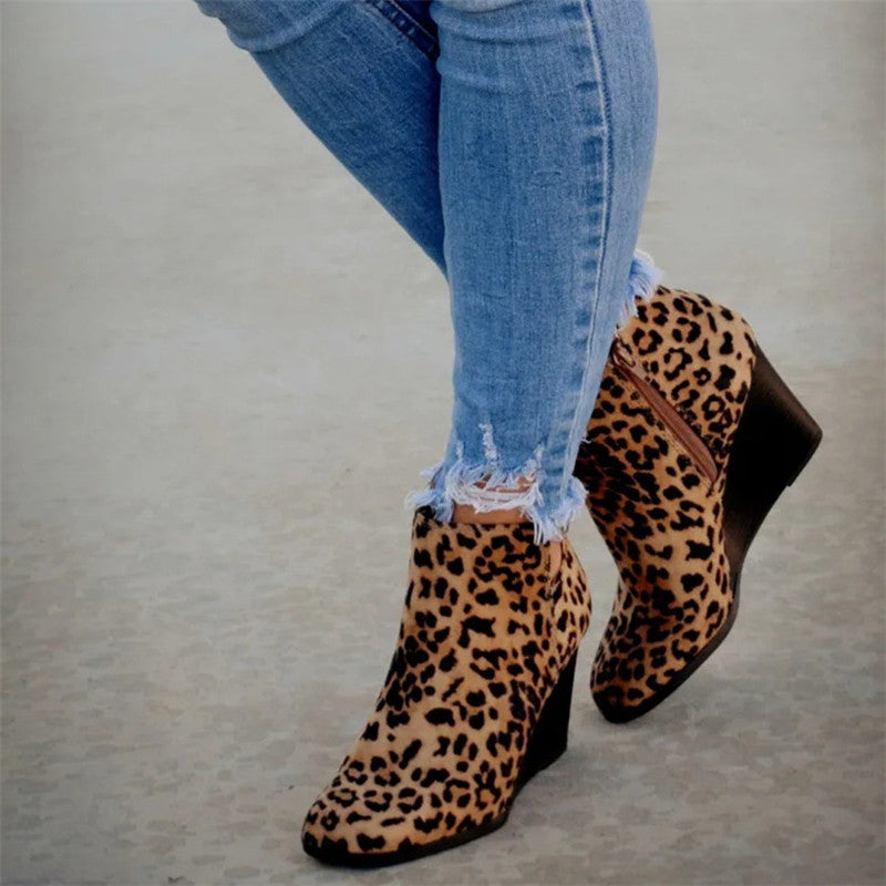 Women Daily Cheetah Zipper Wedge Heel Booties