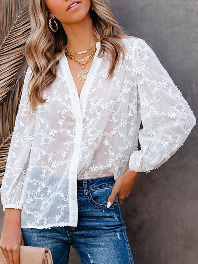 Women Hollow Flower 3/4 Sleeve V Neck Blouses