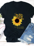Casual Floral Printed Cotton Crew Neck Sunflowers T-shirts For Women