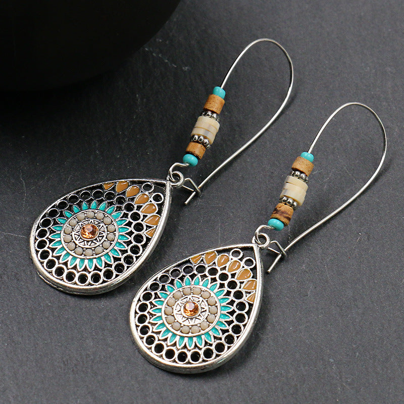 Women Bohemian Hollow Drop-shaped Alloy Long Earrings
