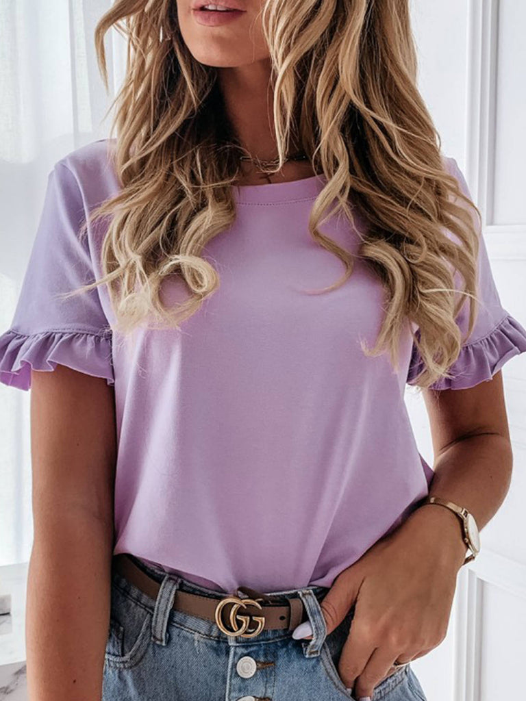 Women Solid Simple Short Sleeve Round Neck T-shirts