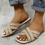 Women Elegant Simple Pu Sequin Tassel Cross-strap Flat Beach Sandals Slippers