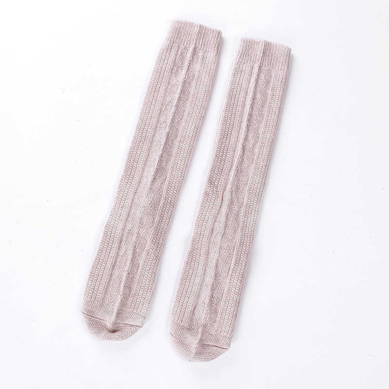 Women Simple Acrylic Solid Color Mid Socks