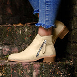 Women Daily Casual Chunky Heel Zipper Boots