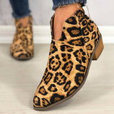 Women Casual Comfy Cheetah Plus Size Zipper Shoes Booties