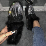 Women Trendy Rhinestone Sparkling Platform Slip On Cotton Shoes