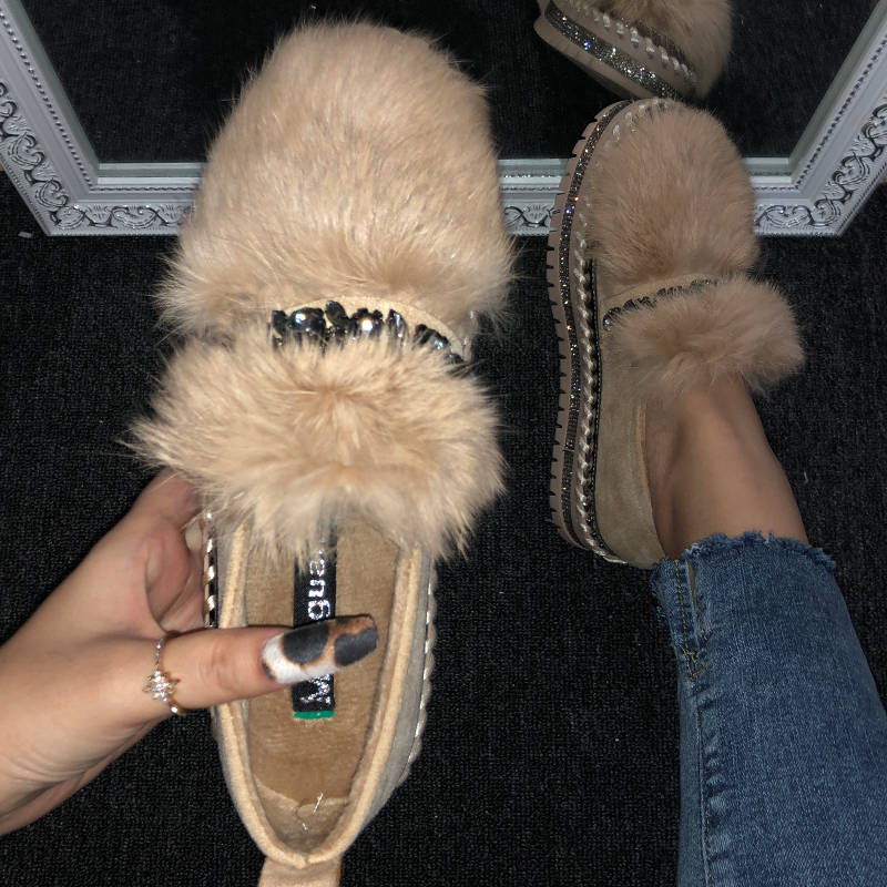 Women Chic Artificial Fur Fluffy Rhinestone Platform Slip On Loafers