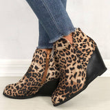 Women Leopard Daily Cheetah Zipper Wedge Heel Booties
