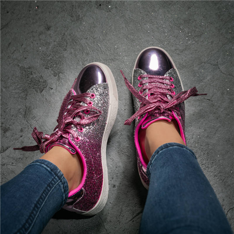 Women Glitter Casual Split Joint Lace-up Sneakers