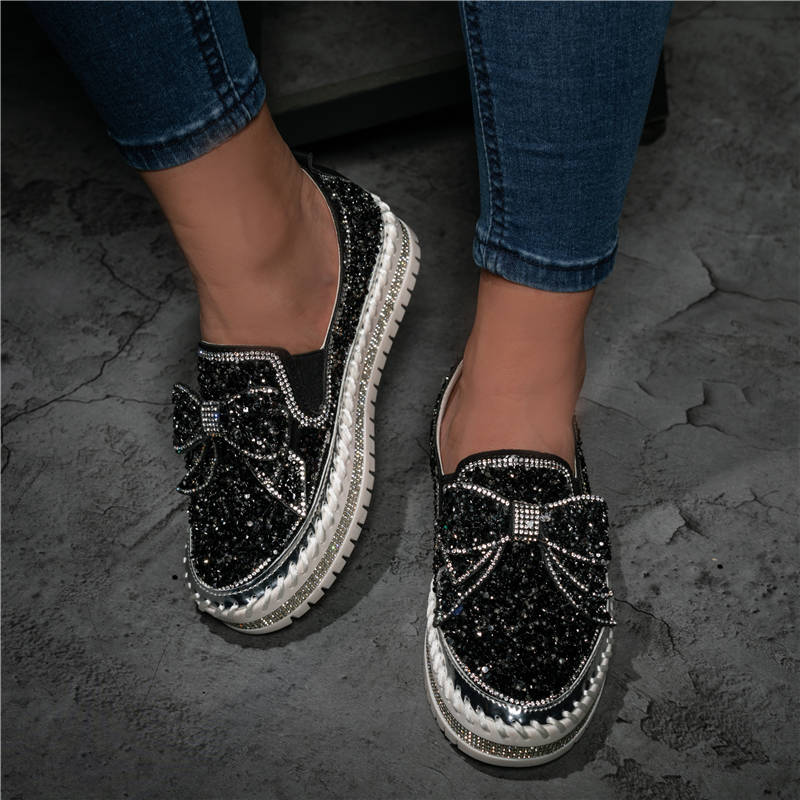 Women Shining Sparkling Rhinestone Slip-on Loafers Slippers with Cute Bowknot