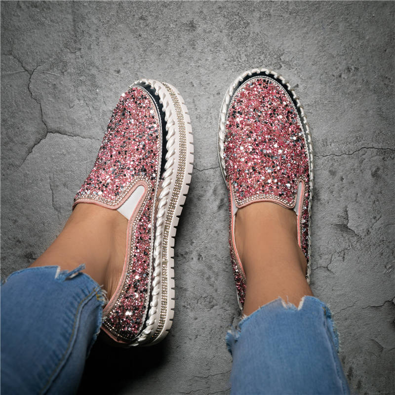 Women Large Size Shining Rhinestone Slip-on Loafers