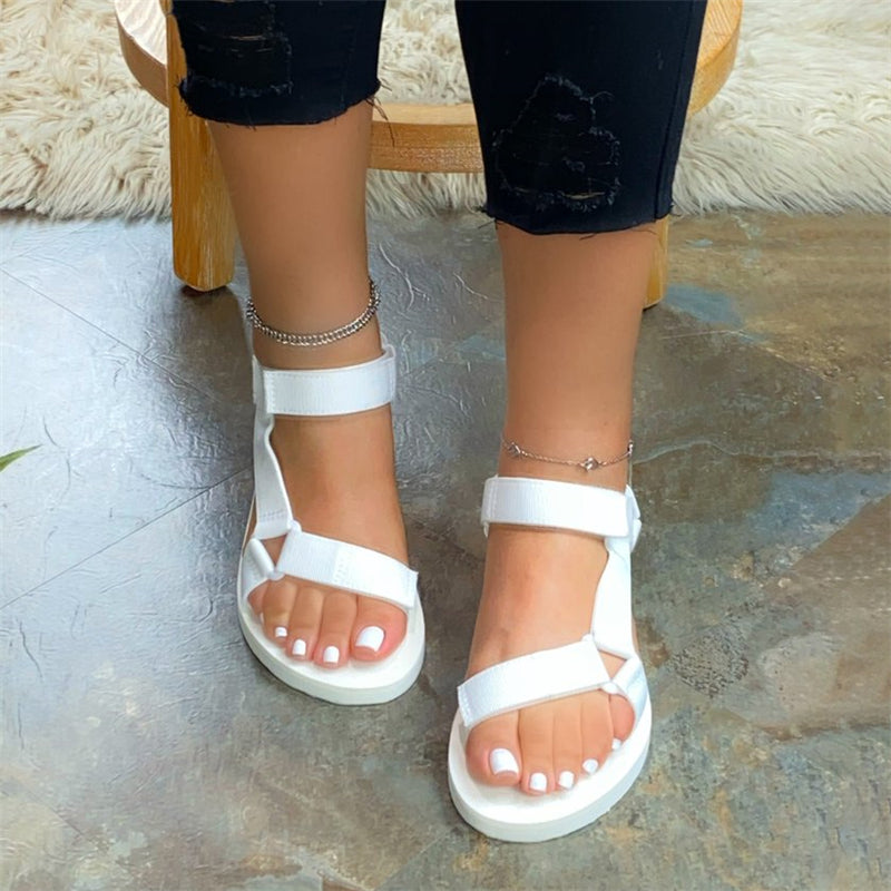 Women Large Size Summer Magic Tape Comfy Flat Sandals